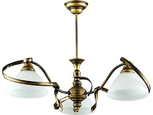 Deckenleuchte Antik Wohnraumlampe Messing Optik Metall satiniertes Glas E27 Jugendstil Lampe Esszimmer