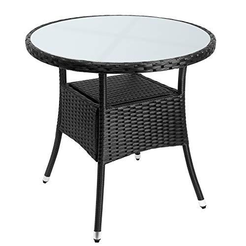 Deuba Table en polyrotin Surface Ronde Ø 80cm Noir Verre Balcon Jardin Table d'appoint extérieur Table de Jardin Plaque de Table en Verre Espace de Rangement