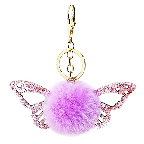 luchike Llaveros mullidos, llavero con colgante de mariposa con purpurina, llavero con pompón de...