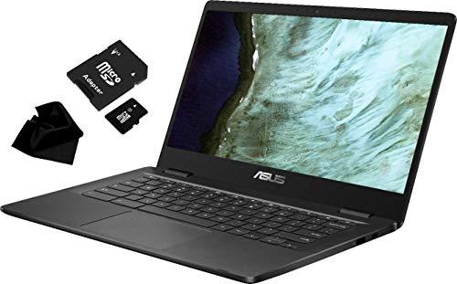 "Newest Flagship ASUS Chromebook, 14.0"" HD (1366 x 768) Anti-Glare Display, Intel Celeron N3350, 4GB LPDDR4, 32GB eMMC, Chrome OS, C423NA-BCLN5, Grey, with KWALICABLE Accessory Bundle"
