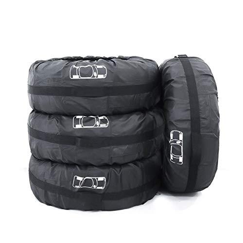 CROSYO 4pcs Cubierta de neumáticos de repuesto Caja de poliéster invierno y de verano Neumáticos de coche Bolsa de almacenamiento Automóvil Accesorios para neumáticos Protector de rueda de vehículo