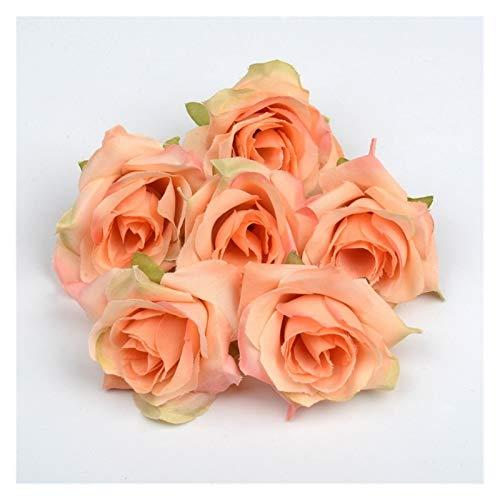 CQHUI Artificial Flower 4cm Silk Rose Flower Head Wedding Party Home Decoration DIY Wreath Scrapbook Craft Fake Flower 50pcs/lot (Color : Orange)
