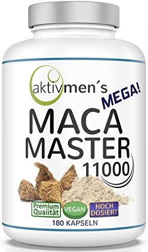 Der aktivmen´s MEGA MACA MASTER 11000 extra stark + herrlich hochdosiert, 180 Kapseln, 1 Dose (1 x 117 g) von Experten* geprüft, Maca Wurzel Extrakt 10:1 mit Maca aus Peru, dem Reich der Inka-Krieger!