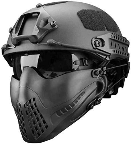 SNFHL Máscara de Media Cara para La Parte Inferior, Máscara Táctica de Malla, Se Puede Usar con Casco Rápido, Juego Combinado de Gafas Anti-Ultravioleta