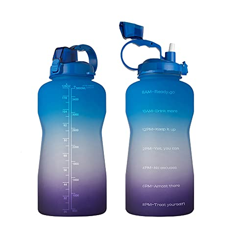 Large 1 Gallon Water Bottle with Time Marker Motivational & Straw, Leakproof Tritan BPA Free for Fitness, Gym, Outdoor Sports and Work (Blue to purple)
