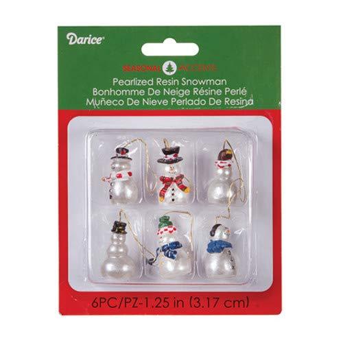 Darice Miniature Christmas Ornaments Shinney Snowman 2449-55