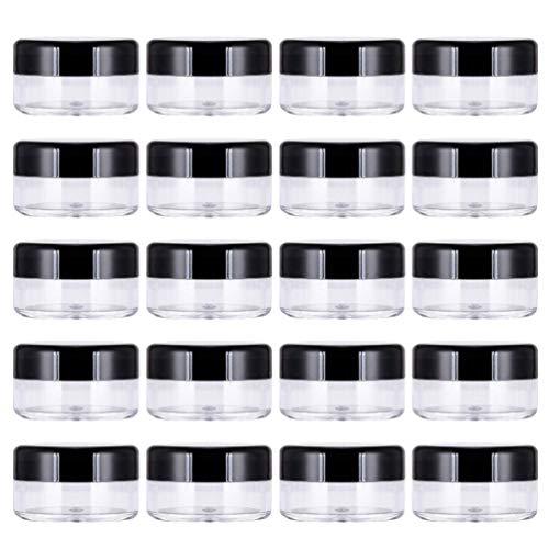 LUOEM 60 stks Lege Clear Ronde Potten Containers Lekvrij Kunststof Container Potten Voorbeeld Pot voor Cosmetische Lotion Cream Make-up Oogschaduw (Zwart)