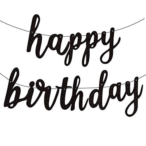 FECEDY Black Happy Birthday Alphabet Banner for Birthday Party Decorations