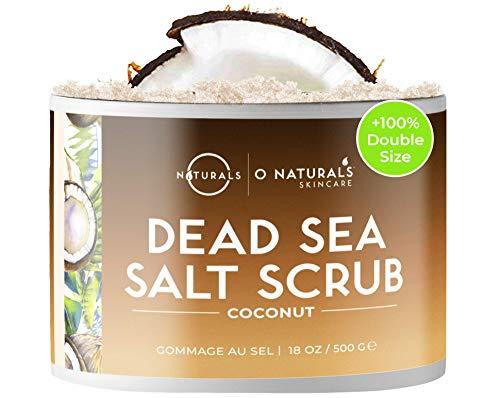 O Naturals Exfoliante de Aceite de Coco y Sal del Mar Muerto, Limpieza Profunda de Cara Cuerpo y Pies. Anticelulítico, Trata la Piel Grasa Acné, Pelo Encarnado y Piel Muerta. Aceites Esenciales 500gr