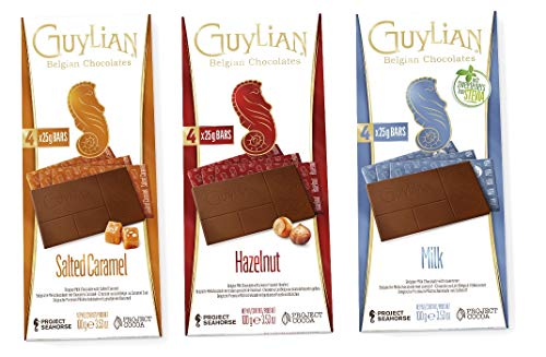 Guylian Schokolade 3er Set - belgische Schokolade - Milchschokolade, gesalzenes Karamell, Haselnuss - Schokoladentafel Chocolate Bars - (3x100g)