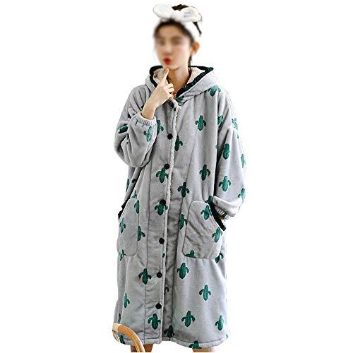 Y-M-H Bata De Mujer, Bata De Terciopelo De Coral De Invierno Pijamas CáLidos Albornoz De Franela Linda CáRdigan De Invierno CamisóN,Blue-M