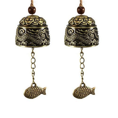 Gobesty Fengshui Glocke, 2 Stücke Vintage Dragon Bell Weinlese Drache Muster Fengshui Windspiele für Hausgarten Hängen Glück Segen