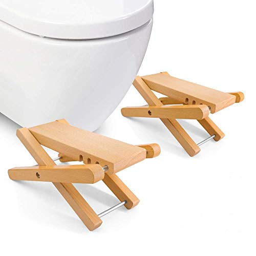 Taillansin Squatting Toilet Stool Fodable Bamboo Wood Bathroom Poop Stool 6' 7' 8' 9' inch Adjustable for Adults Potty Step Stool for Toilet Posture and Healthy Release (One Pair)