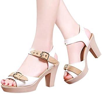 haoricu Women s Peep Toe Pumps Casual Zipper Sandals Leather Open Toe High Heel Booties White
