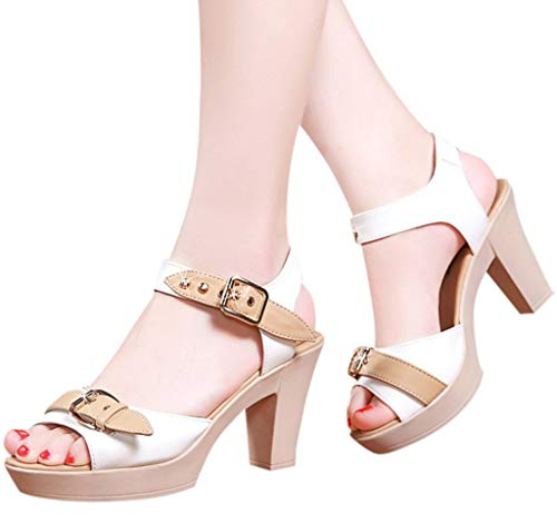 haoricu Women's Peep Toe Pumps Casual Zipper Sandals Leather Open Toe High Heel Booties White