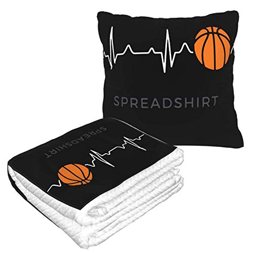 Basketball Herzschlag Kissen Decke Warme Flanelldecke mit Reißverschluss Premium Weich 2 in 1 Flugzeugdecke gemütlich tragbar Plüsch Überwurf Decken für Sofa Schlafzimmer Auto