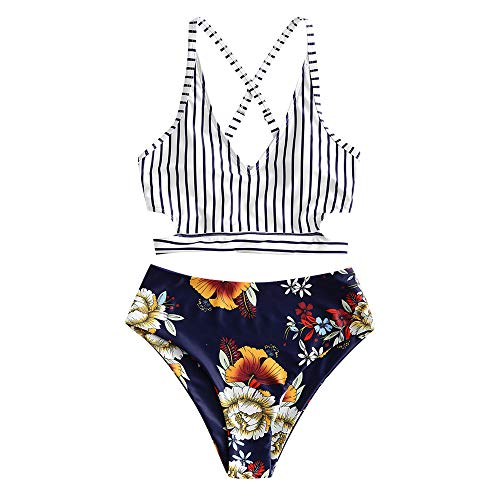 ZAFUL Damen Streifen Knot Bikini Set Floral Bottom Tankini Blau S