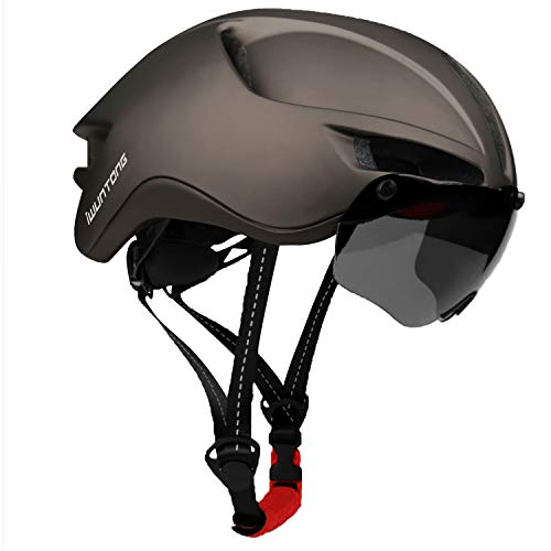 iWUNTONG Casco de Bicicleta, Casco Certificado CE con Visera Solar Extraíble,Casco de Bicicleta con Luz Recargable USB,Casco de Bicicleta para Adultos Casco de Bicicleta de Montaña Hombres/Mujeres