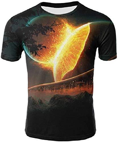 MU2M Mens 3D Print Crewneck Short Sleeve Shirt Slim Fit T Shirts Personalized Colorful US 3X Large