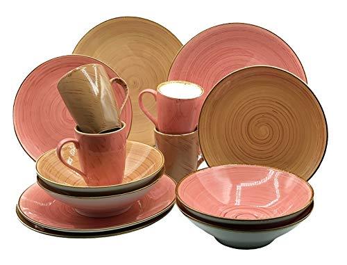 Blanca's Feel Vajilla Completa Combinada Porcelana color Rosa/Marrón Canela de (16 piezas) para 4 personas, Platos Llano, Platos de Postre, Bowls Platos Hondo, Mug taza.