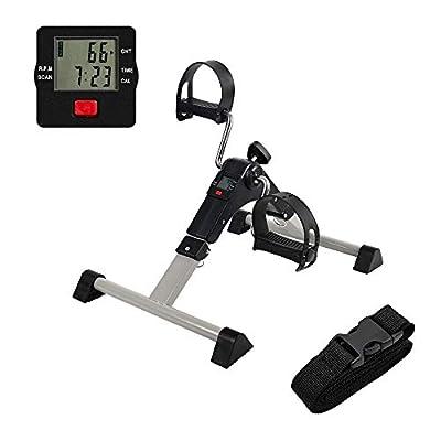 AHMED Folding Under Desk Bike Pedal Exerciser for Arm/Leg Medical Fitness Exercise Bike Mini Portable Home Workout (gray)