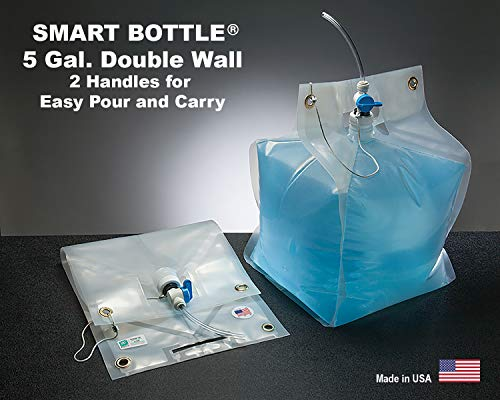 Smart Bottle 5 Gallon/20 Liter Collapsible Water Container with a Blue Tubing Spout. The only Double Wall Flexible Container Designed with Handles top and Bottom for Easy Carry. BPA Free.