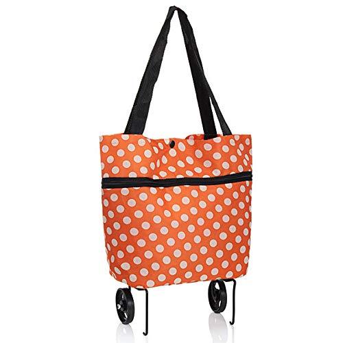 BESTSOON Trolley Bags Portable Shopping Trolley Wheels Folding Luggage Cart Bag