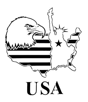 OBUY Large American Flag American Map Statue of Liberty Stencil for Painting on Wood Fabric Walls Airbrush + More | Reusable Mylar Template  USA Eagle