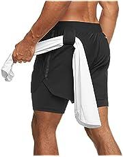 Yageshark Sportshorts voor heren, 2-in-1 sportbroek, korte zomerbroek, sneldrogende loopshorts, gym, trainingsshorts, sportbroek met ritszak