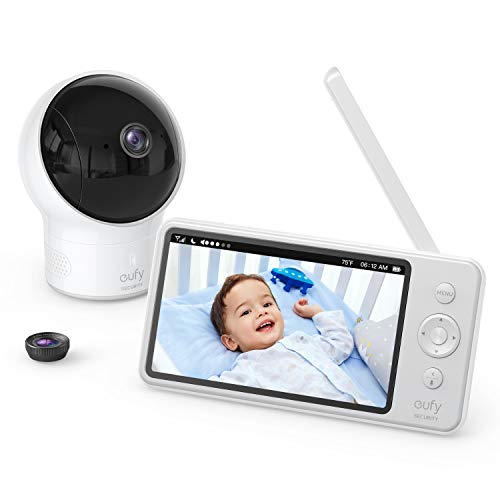 "Video Baby Monitor, eufy Security, Video Baby Monitor with Camera and Audio, 720p HD Resolution, Night Vision, 5"" Display, 110° Wide-Angle Lens Included, Lullaby Player, Ideal for New Moms"