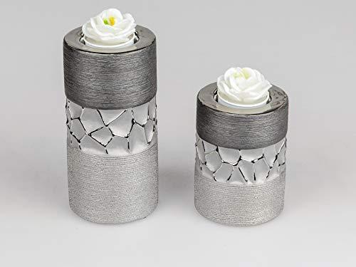 Formano 2er Set Teelicht Halter Deko Teelichtleuchte Silber-grau Keramik