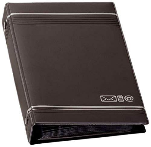 Durable 237558 - Telindex, Rubrica Telefonica ad Anelli, 150 Contatti, Indice Alfabetico 12 Tasti, 25 Fogli, 145 x 255 mm, Carbone