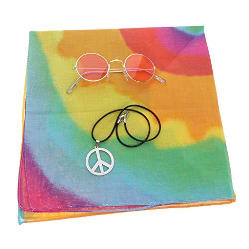chiwanji Friedenszeichen Halskette, Bunte Hippie-Stirnband und Sonnenbrille 60s 70s Damen Herren Mädchen Hippie-Kostümen Set - Klein