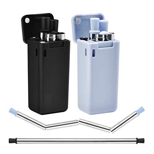 CLONIC 2 cannucce in acciaio inox, riutilizzabili, in metallo, pieghevoli, con spazzola per la pulizia, ideali per frullati, bevande calde e fredde, casa e viaggio (blu e nero)