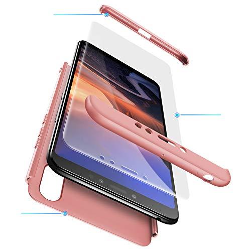 Funda XiaoMi Mi Max 3 Carcasa XiaoMi Mi Max 3 con[Protector de Pantalla de Vidrio Templado]3 en 1 Desmontable Anti-Arañazos XiaoMi Mi Max 3 Funda Protectora-360 °complete package protection-Rose Oro