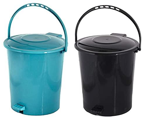 Kuber Industries 2 Pieces Plastic Dustbin Garbage Bin with Handle, 10 Liters (Black & Green) - CTKTC034670, Standard