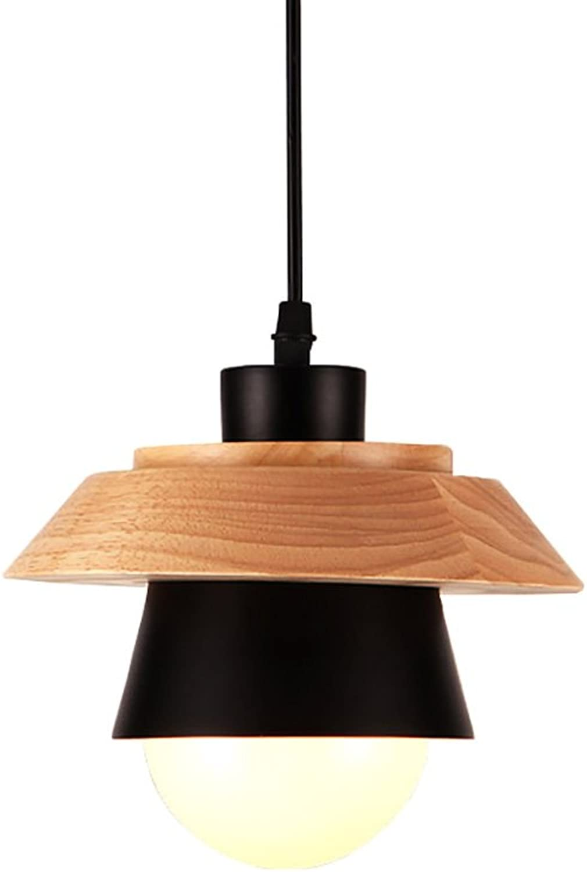 Luminaires suspendus Lustre en bois massif, lampe de chevet de chambre à coucher (Couleur   Noir)