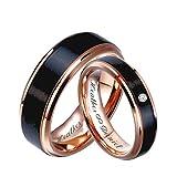 Personalized Rose Gold & Brushed Black Gunmetal Tungsten Ring Set, Engraved Couple's Ring Set Custom, Wedding Band, Custom Engraved Free
