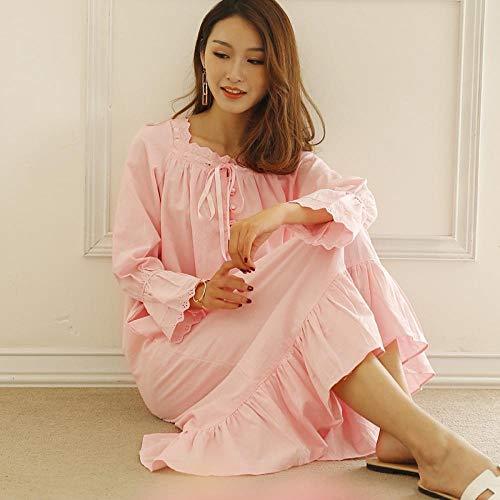 STJDM Pyjama,Herbst Baumwolle Pink Princess Nachthemd Weich Bequem für Frauen Große Baggy Pijama Langarm Schlaf Wear Schlafkleid M Longskirt