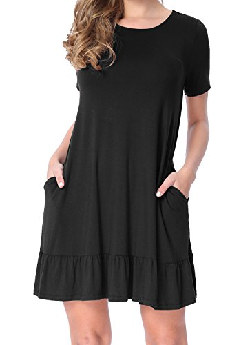 LAINAB Womens Summer Plain Solid Short Sleeve Loose Swing Casual Dress Black M