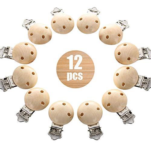 12 Stücke Schnullerclip, Natürlich Holz Baby Schnuller Clips, schnullerketten clip, schadstofffrei Nuckelclip Baby Clip, Dummy Nippel Halter für Baby und Kind
