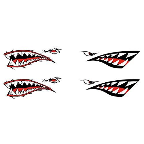 Shiwaki 4 Stü Big Shark Teeth Decal Aufkleber Für Sit On Top Kayak/Ocean Boat
