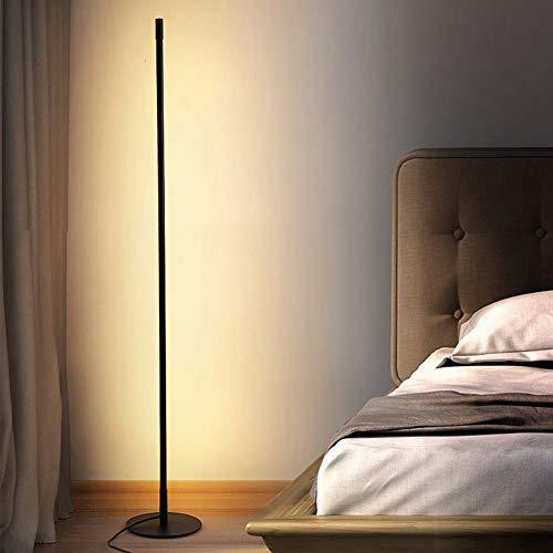 UFLIZOGH Stehlampe LED Dimmbar moderne 150CM mit Fernbedienung 16W Stehleuchte 3 Farbtemperaturen 1200 Lumen Augenschutz Bodenleuchte für Wohnzimmer (Schwarz, 3 Farbtemperaturen)