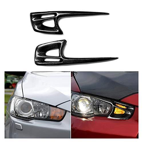 Rumors Auto-Karbonfaser-Abdeckung für Scheinwerfer/Augenbrauen, Zierleiste für Mitsubishi Lancer 10 X Evo 2008–2015 (Farbe: Kohlefasermuster)