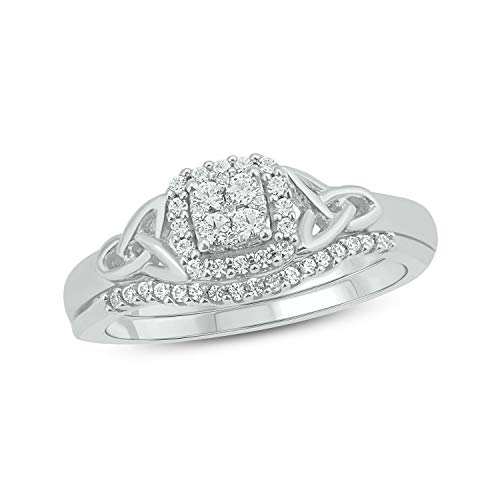 Cali Trove Sterling Silver 1/4ct Round White Natural Diamond Celtic Knot Bridal Ring Set for Women