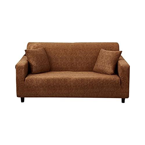 DELITLS Funda para sofá de silla súper elástica, todo incluido, funda de sofá elástica, elástica, antideslizante, suave, protector de muebles lavable (café, doble plaza)