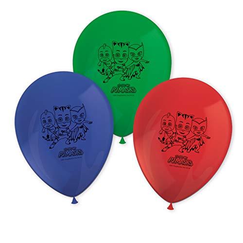 Procos 88641 - Luftballons Pj Masks, 8 Stück, Durchmesser 21 cm, bedruckt, rot, grün, blau, Latexballons, Geburtstag, Dekoration