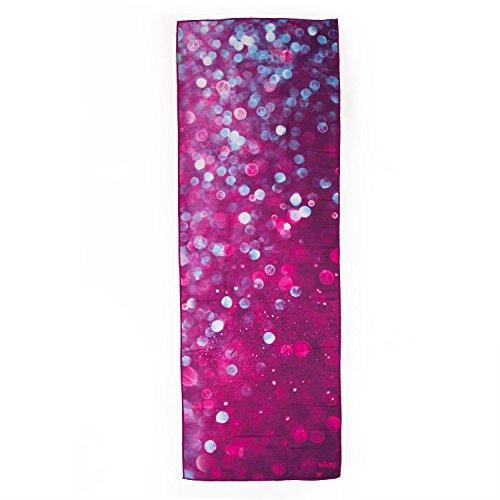 Bodhi Grip² Yoga Towel Art Collection Drops of Peace, rutschfest, Yogatuch lila/aubergine mit Noppen, Mikrofaser, ideal für Hot Yoga