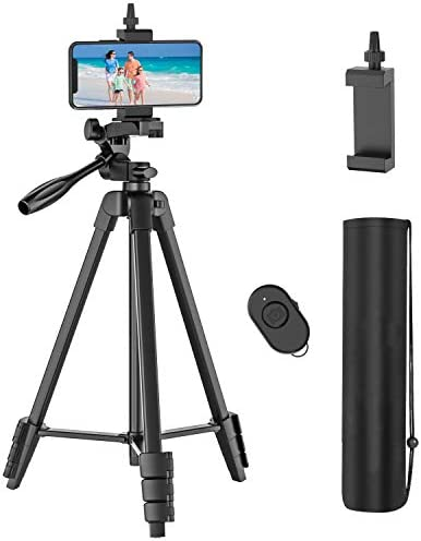 54 inch Phone Tripod with Rechargeable Remote Lightweight Aluminum Travel Camera Tripod with product image