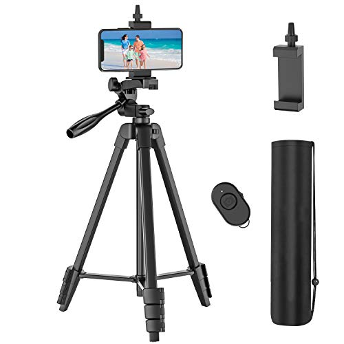 54 inch Phone Tripod with Rechargeable Remote, Lightweight Aluminum Travel...